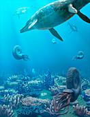 Triassic sea, illustration