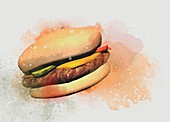 Beef burger, illustration