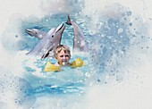 Dolphin therapy, illustration