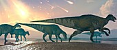 Asteroids raining on dinosaurs