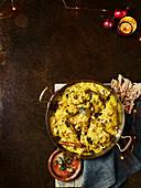 Hähnchen-Cashew-Curry mit Ingwer und Chili (Chertha Kozhi Kari)