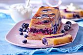 Apple and blueberry cake with blackberries