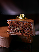 Sacher cake with gold leaf