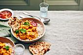 Chicken korma with corander naans