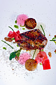 Roasted pigeon with scallops