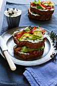 Bruschetta with cream cheese, bacon and grilled zucchini