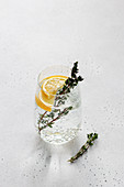 Soda with lemon and thyme