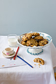 Muesli cookies and a glass of milk