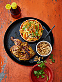 Oriental grilled chicken with a papaya salad