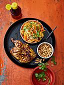 Asiatisches Grillhähnchen mit Papaya-Salat