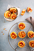 Quick pepper spiral pastries