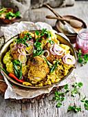 Curry chicken and cauloflower