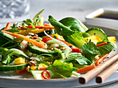 Asian pak choy salad with cucumber and chilli