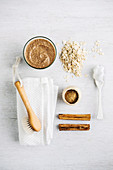 Ingredients for vegan exfoliating oat meal mask