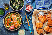Baked salmon with vegbetable and wakame salad