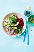 Vegan watermelon tuna poke bowl