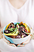 Vegan black rice noodle salad with mango and tempeh