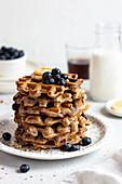 Oatmeal banana waffles with blueberries