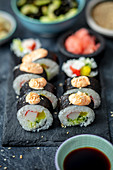 Home made sushi with surimi