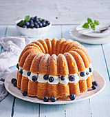 Fancy cake with mascarpone and blueberries