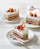 Cuts with raspberry jam and coffee cream