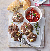 Beef burger with camembert cheese