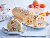 Apricot roll with poppy seed cream