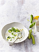Cold cucumber soup with garlic