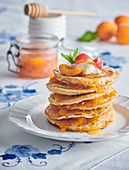 Oat pancakes with apricots