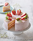 Gateau with strawberries and strawberry cream