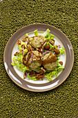 Mung bean falafel background of mung beans