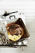 Saddle of lamb with roast polenta