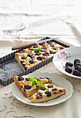 Kefir cake with blackberries and marchpane