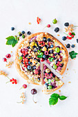 Berry pizza with sour cream sauce