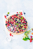 Berry tart with baked custurd