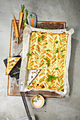 Carrot and asparagus tart with pumpernickel