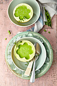 Vegan pea and honeydew melon soup