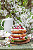 Spring cake with raspberries and cream cheese