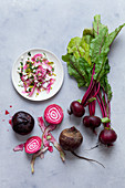 Beetroot salad with goat's cheese