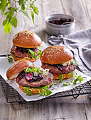 Burger with onion jam and camembert cheese