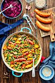 Barley with veggies and sausage