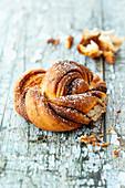 Rolled cinnamon bun (Kanelbullar, Sweden)