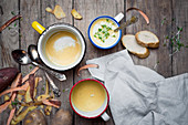 Suppe aus Kartoffeln und Süßkartoffeln