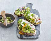 Avocado spread with poached egg