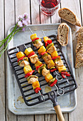 Hawaii skewers with chicken and pineapples