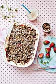 Rhubarb and strawberry crumble with vanilla bean custard