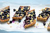 Blueberry custard tart with creme fraiche