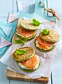 Layered omelets with smoked salmon