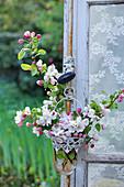 Apfelblüten-Zweige in kleiner Hängevase