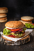 Classic cheeseburger with tomatoes, red onions and mayonnaise